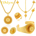 Ethlyn Ethiopian wedding jewelry  24k real Gold plated women jewelry hair chain/ hair stick/ pendant /bangle/earrings/rings