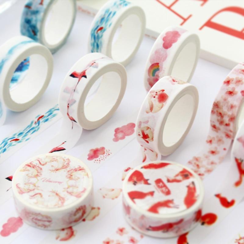 15mm*7m Unicorn Fish Deer Washi Tape Cute Animal Adhesive Tape DIY Scrapbooking Decoration Sticker Label Diary Masking Tape