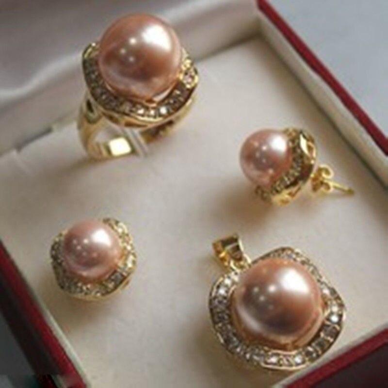 Новинка-1 Набор 10 мм и 14 мм розовая Морская раковина жемчуг перламутровый кулон серьги кольцо новинка