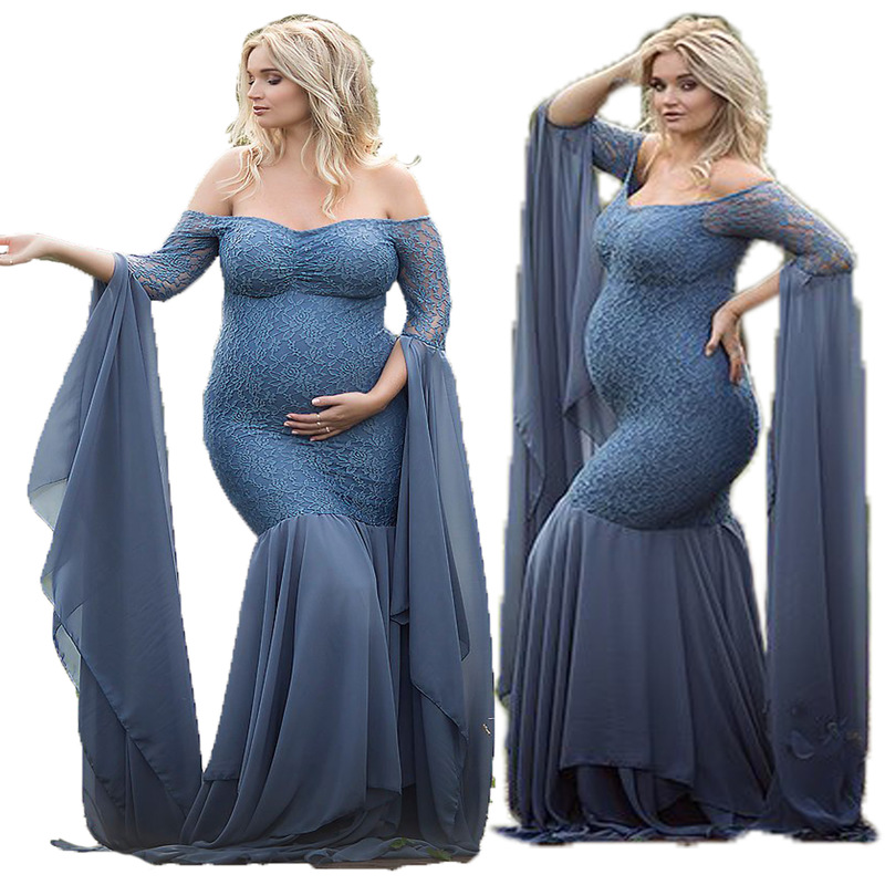 Lace Maternity Photography Props Gown Dresses For Pregnant Women Maternity Long Dresses For Photo Shoot Pregnancy Party DressesLace Maternity Photography Props Gown Dresses For Pregnant Women Maternity Long Dresses For Photo Shoot Pregnancy Party Dresses