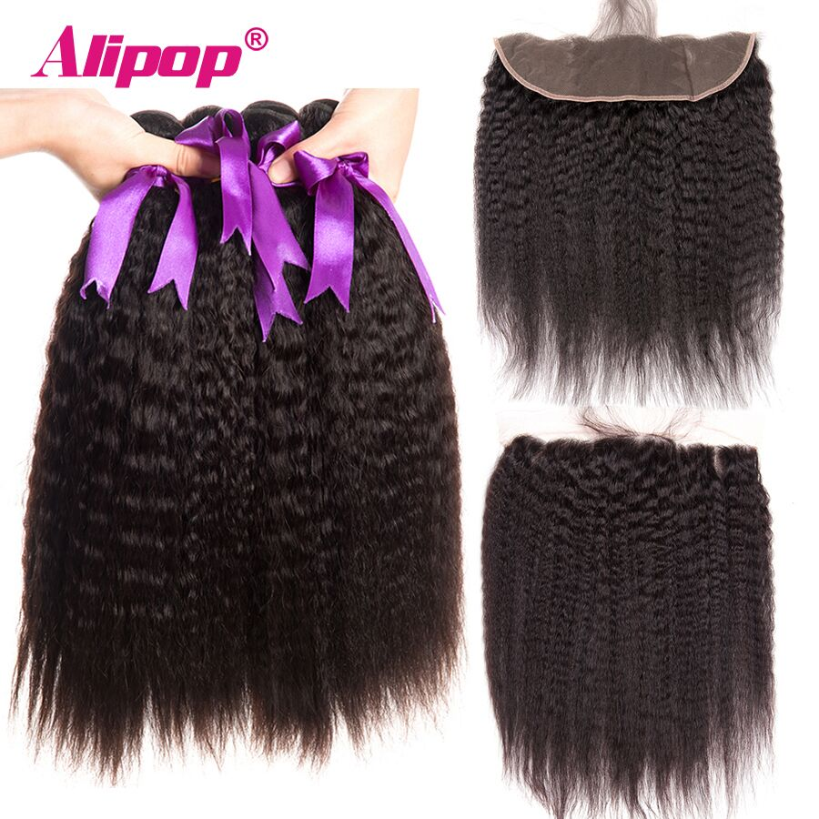Alipop Kinky Straight Hair Bundles With Frontal Brazilian Hair Weave Bundles Human Hair Bundles With Frontal