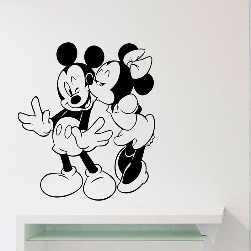 YOYOYU Mickey Minnie Mouse Vinyl Wall Sticker Kid Room Kissing Love Removable Decal Nursery Bedroom Decoration ZX332