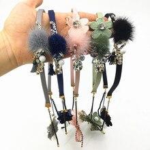 Retro Tassel Fake Earrings Hair Hoop Band fur ball rhinestone GEM Hairband headband Headdress woman Accessories
