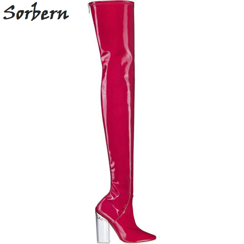 Sorbern Clear High Heel Runway Shoes Over The Knee Thigh High Boots Elastic Shiny Ladies Boots Size 40 Chunky Heeled Sexy Boots women over the knee boots black velvet long boots ladies high heel boots sexy winter shoes chunky heel thigh high boots