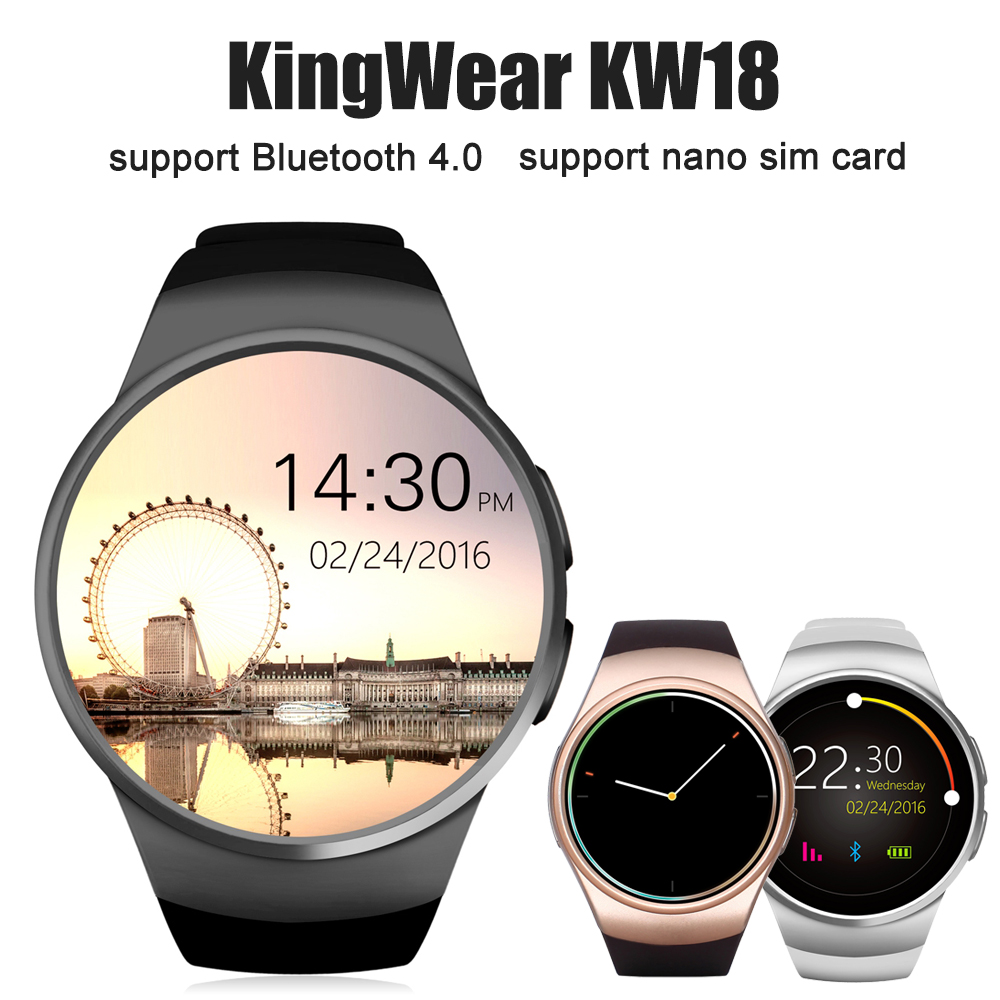 KingWear KW18 1.3 inch Bluetooth Smart Watch Phone MTK2502 Smartwatch Heart Rate Monitor Pedometer For apple IOS Huawei Android