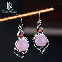 Begua Ringen 925 Silver Jewelry Drop Earrings For Women Created Rose Quartz Big Dangle Wholesale Party Anniversary Gift