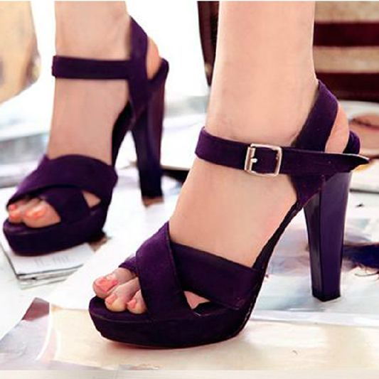 50b9e6da199 Ultra thick heel high heels sandals plus size 40 - 43 44 45 navy blue purple