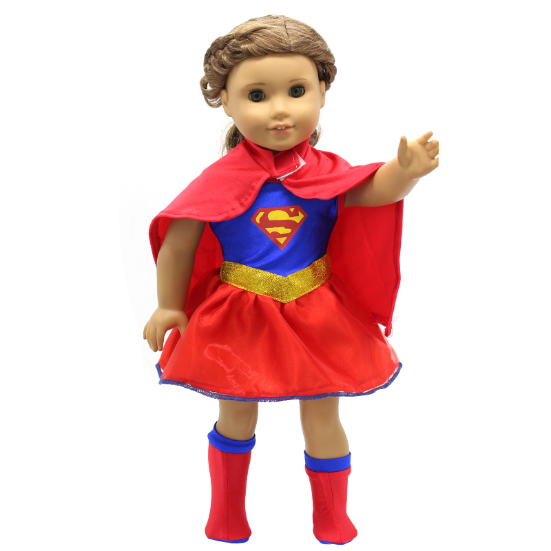 Doll Accessories American Girl Dolls Clothes Spiderman Batman Superman Cosplay for 16-18 inch Dolls Girl Gift X-54 dropshipping american girl dolls clothing 6 styles elegant color flower print long dress for 18 inch doll clothes accessories girl x 40