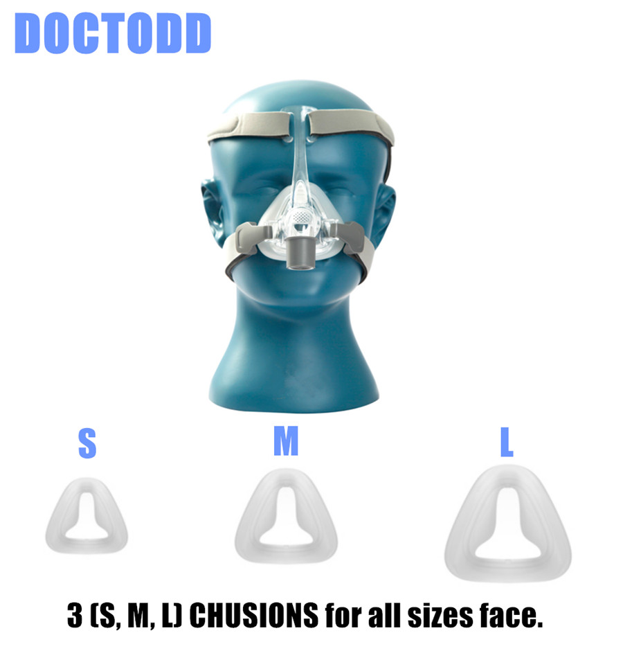 DOCTODD NM4 Nasal Mask With Headgear and SML 3 Size Cushions for CPAP Auto CPAP APAP Mask for Sleep Snoring Apnea Universal Size