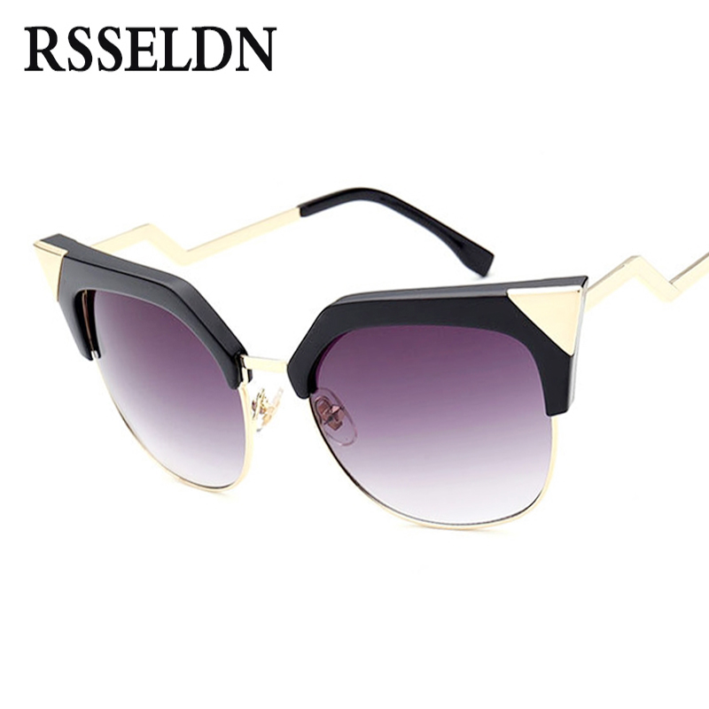 RSSELDN Newest Cat Eye sunglasses Women Metal Fashion Bending Temple Vintage Sun Glasses UV400 oculos de sol feminino