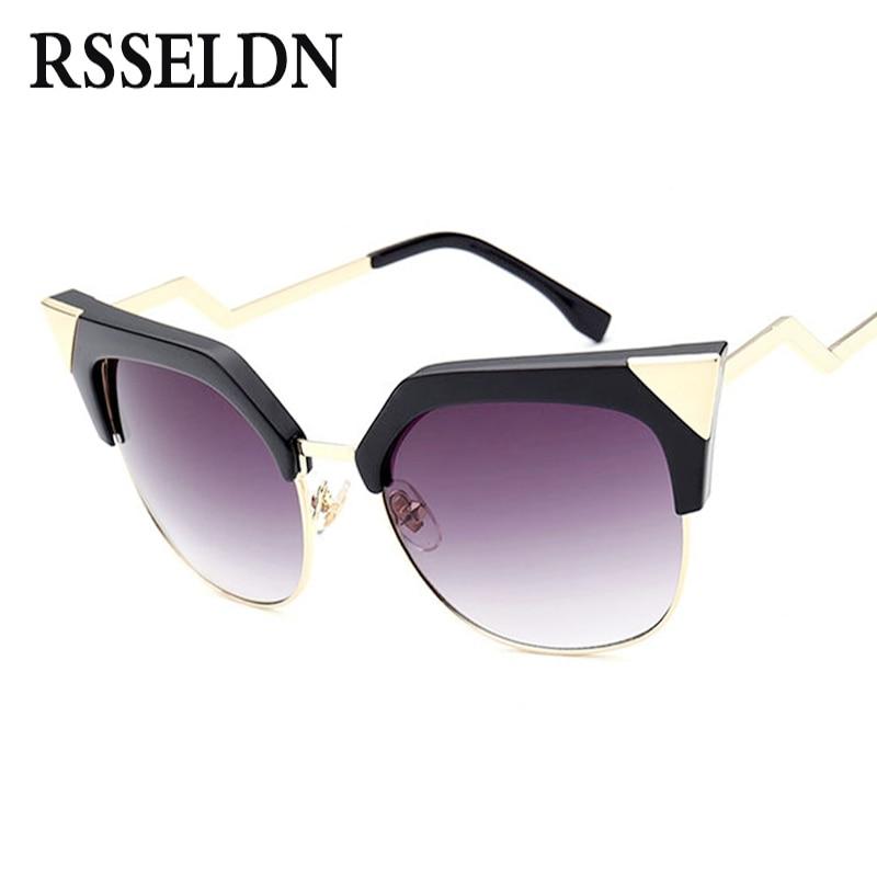 RSSELDN Newest Cat Eye sunglasses Women Metal Fashion Bending Temple Vintage Sun Glasses UV400 oculos de sol feminino