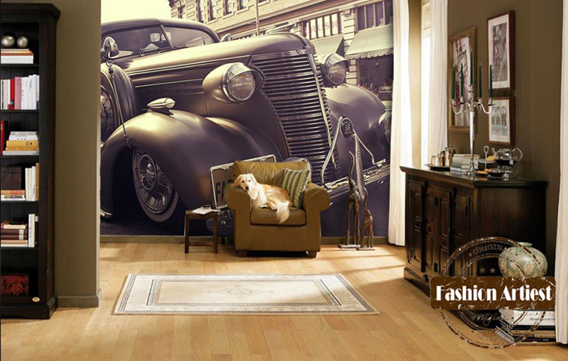 Custom 3d wallpaper mural classic vintage car automobile for Antique wallpaper mural