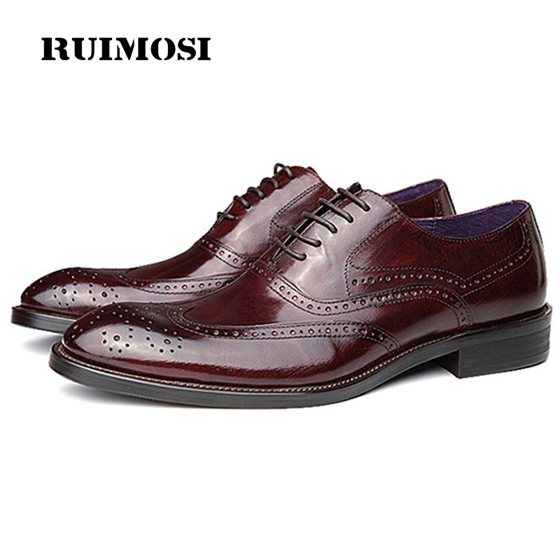 RUIMOSI New Arrival Wing Tip Man Brogue Shoes Genuine Leather Formal Dress Oxfords Round Toe Wedding Bridal Men's Flats GD35