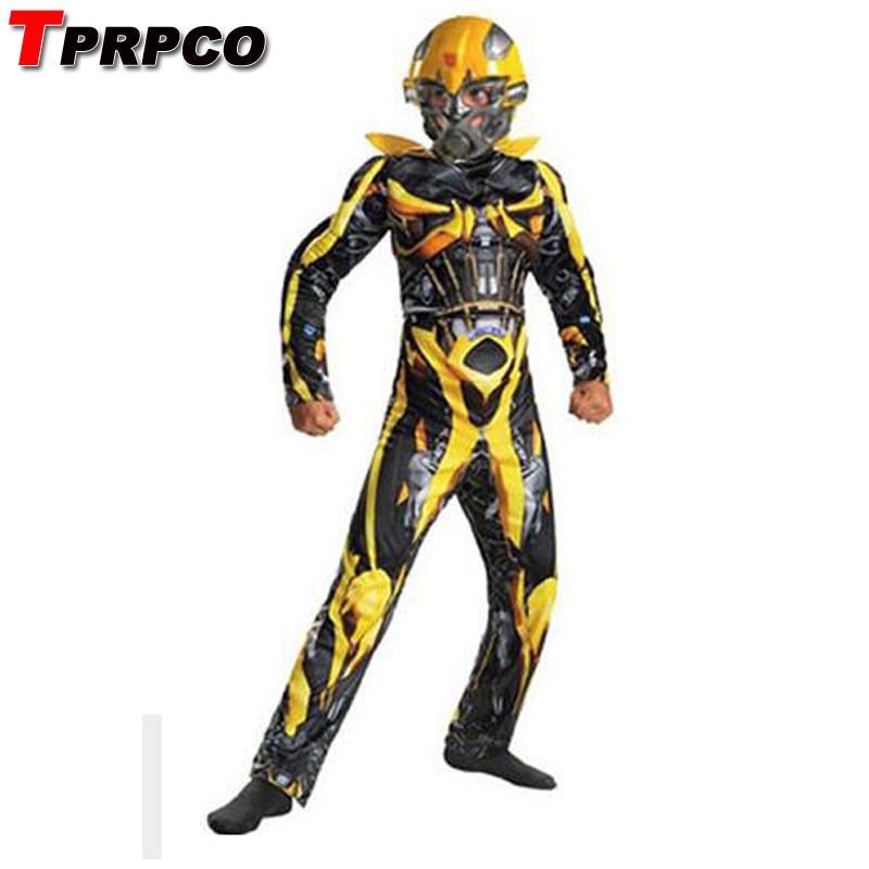TPRPCO Kids Boys Cosplay Movie Muscle Boys Bumblebee Superhero Body Suits for Carnival Halloween Costume