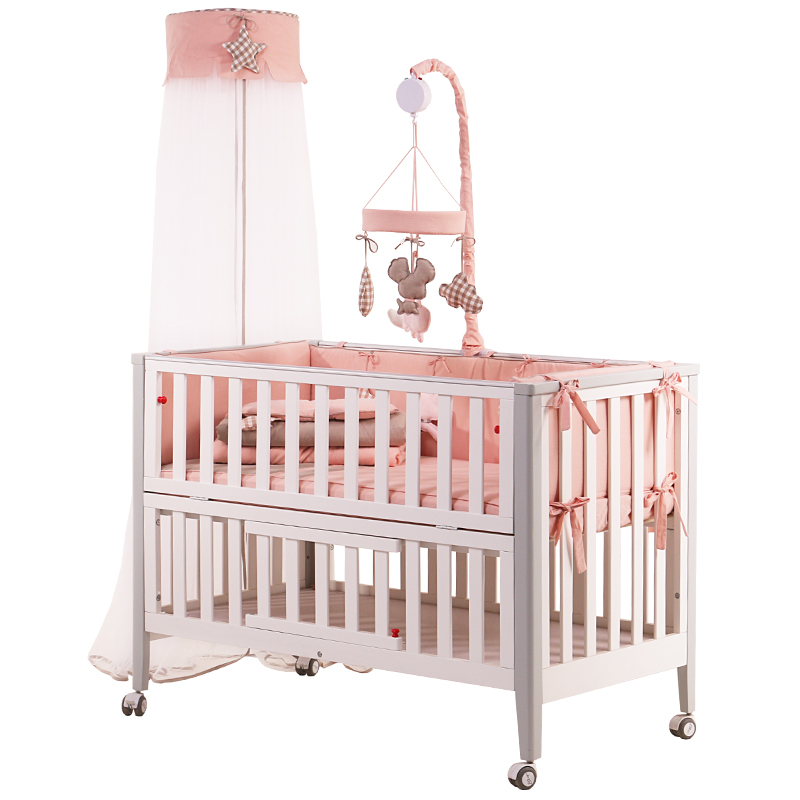 The newborn crib is a plain white north European multi-functional baby bed with roller folding promotion 6pcs baby bedding set cot crib bedding set baby bed baby cot sets include 4bumpers sheet pillow