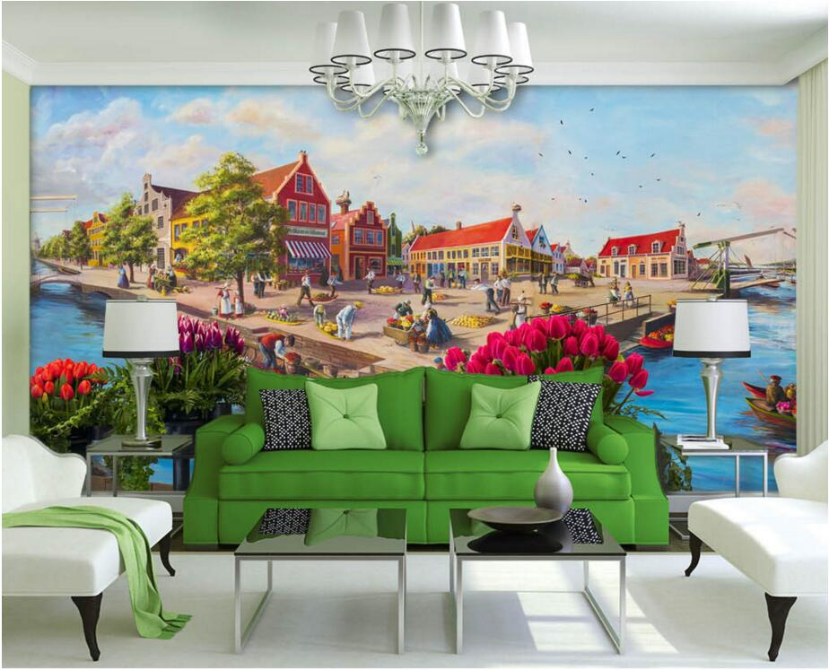 Custom mural photo 3d wall paper Venetian city flower town room decor picture painting 3d wall murals wallpaper for wall 3 d 3d wallpaper custom mural photo lavender flower sea tv background wall decor painting 3d wall murals wall paper for walls 3 d