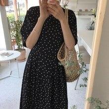 Women Summer Black And White Polka Dot Dress Casual Short Sleeve Lace Up Slim Dress Back Button Maxi Dress