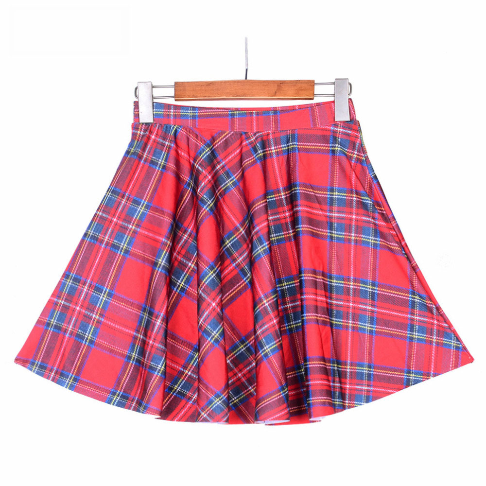 f19ba2310 1007 Summer Women Plus Size Pleated Mini Skater Skirt Sexy Girl Cheerleader  TuTu Skirt Scotland plaid tartan Red Prints-in Skirts from Women's Clothing  on ...