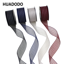 HUADODO 25mm 5Yards Stripe Ribbon Organza Ribbons tapes for Gift Wrap Needlework DIY Bow decoration 1