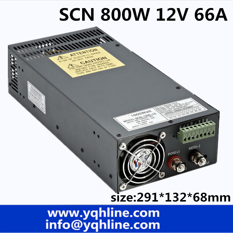 Factory price 800w 12v 66A high power Single Output Switching Mode 800W Power Supply for led light CNC industry (SCN-800-12)