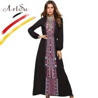 ArtSu Oversized Women Floral Print Maxi Dress Blue Black Spring Autumn Long Sleeve Vintage Ethnic Robe Femme O Neck Casual Dress