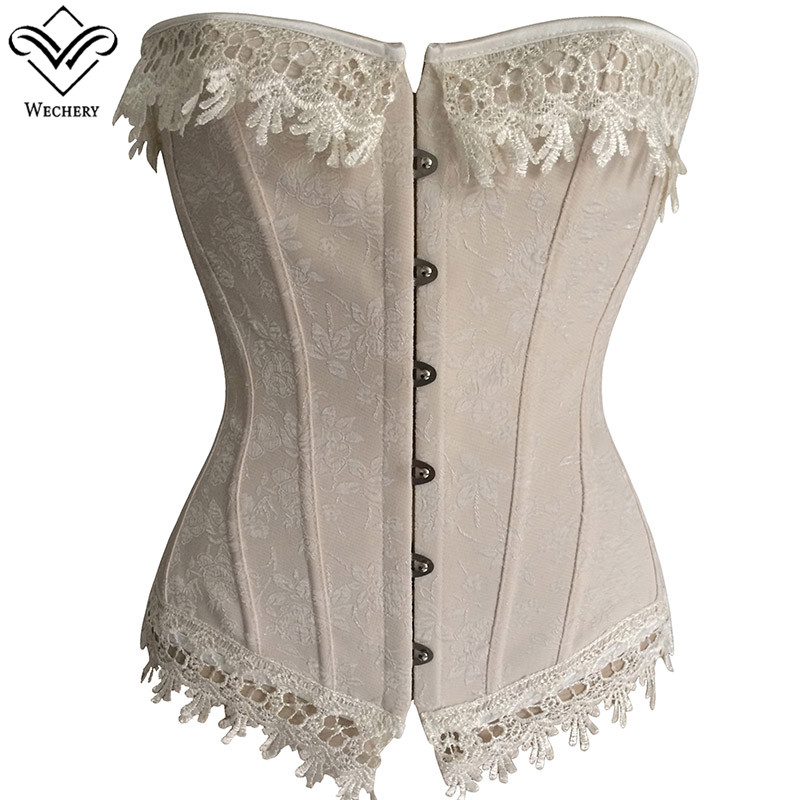 Wechery Vintage Victorian   Corset   Ladies Lace Floral Beige Apricot Retro   Bustier   Women's Firnged Tops S-6XL Plus Size