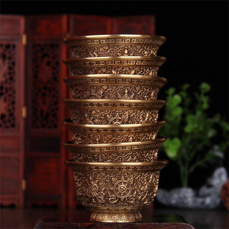 Budismo Tibetano suministra ocho auspiciosamente tallada cobre puro taza de agua para el Buda ceremonia/7 en 1