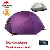 Naturehike Mongar 2 человека 3 сезона Сверхлегкая палатка 20D силиконовая двухслойная Водонепроницаемая непромокаемая палатка с ковриком