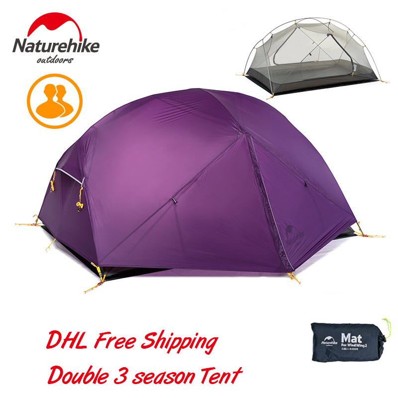 Naturehike Mongar 2 Person 3 Season Ultralight  Camping Tent 20D Silicone Fabic Double Layer Waterproof Rainproof Tent With Mat naturehike 3 person camping tent 20d 210t fabric waterproof double layer one bedroom 3 season aluminum rod outdoor camp tent