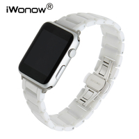 Glossy Ceramic Watchband + Adapter for Apple Watch iWatch 38mm 42mm Series 1 & 2 Butterfly Buckle Band Wrist Strap Link Bracelet