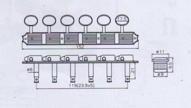 Jinho J55s 6 6 Gold 5 Sets Guitar Tuning Keys Machine Head Tuner