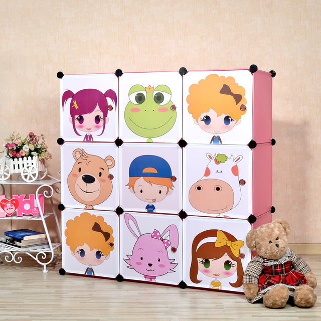 9 Cubes 2014 New Children's Cartoon Plastic Wardrobe Kids Closet Organizer Childrens Wardrobe