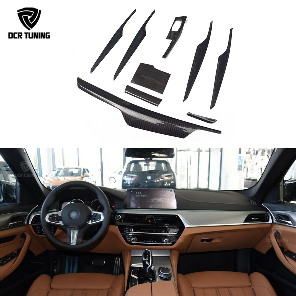 цена на 9 pcs / Set For BMW 5 Series G30 G38 Carbon Fiber Interior Trim Cover Only Left Hand Drive Gloss Black Carbon Trim 2017 +
