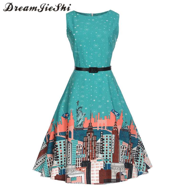 Dreamjieshi Elegant City style Print Vintage Dress Summer Women Tank Hepburn Rockabilly Knee Length Retro 50s 60s Party Dresses