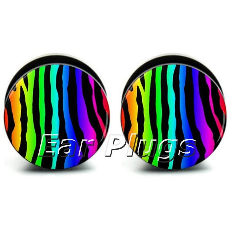 1 pair rainbow zebra ear plug gauges tunnel acrylic screw flesh tunnel body piercing jewelry
