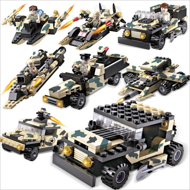 8 In 1 Legoings 24 Building Ways 824pcs Military Series Model Building Blocks Kit Kids Education Toys Christmas Gifts XD300 kaygoo building blocks aircraft airplane ship bus tank police city military carrier 8 in 1 model kids toys best kids xmas gifts