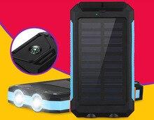 Водонепроницаемый Солнечное Зарядное Устройство Открытый Солнечной Энергии Банк Зарядное Устройство 20000 мАч с Компасом и СВЕТОДИОДНЫЙ Фонарик