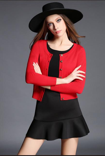 2016 Suéter de Las Mujeres Cardigans de Punto de Poliéster Sólido de la Rebeca de manga larga suéter Del O-cuello de Las Mujeres Femme