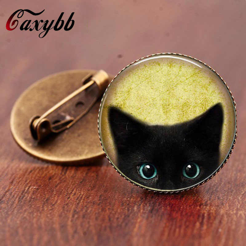 Gaxybb classic style Vintage black cat brooch pins jewelry Glass art Retro handmade high quality jewelry for women BR27