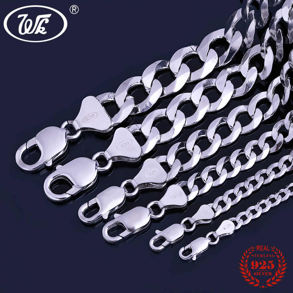 925 Silver Chain >> Wk Italy 925 Silver Chain Men Male Boys 4mm 5mm 7mm 9mm 11mm 12mm 20 22 24 26 28 30 Inch Hip Hop Rapper Curb Cuban Chain Nm005