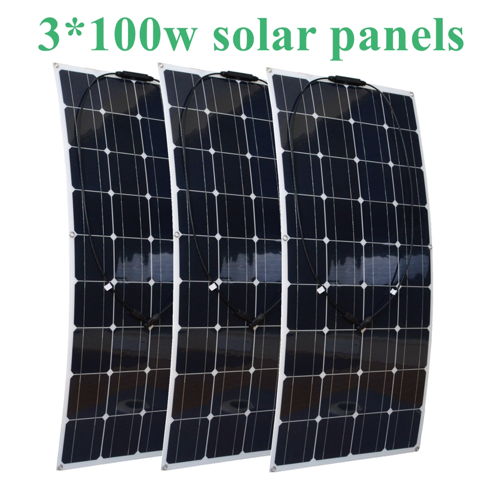 3*100W Flexible Solar Panel Efficient Cell Module Kit Boat Roof RV Light Camper Car Battery Power Charger 300W Solar System sp 36 120w 12v semi flexible monocrystalline solar panel waterproof high conversion efficiency for rv boat car 1 5m cable
