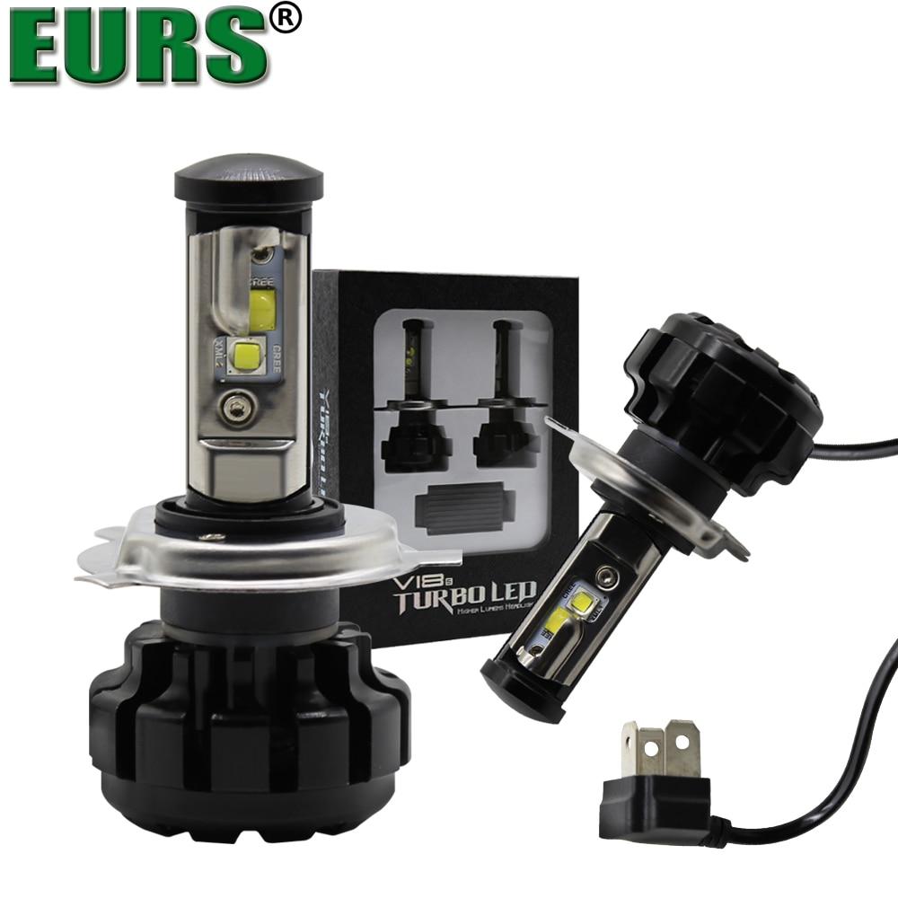 EURS Car Headlight H7 H4 LED H1 H8 HB3/9005 HB4/9006 H3 9012 80W 16000lm Imported brand Chips 6000K Light V18 Auto Headlamp Bulb