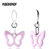 2017 Fashion Healthy Material Ceramic Stud Earring For Women Silver Plated Stainless Steel Pink Butterfly Women