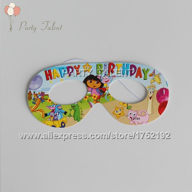 Party supplies 10PCS children kids DORA THE EXPLORER theme party decoration mask with cartoon pattern