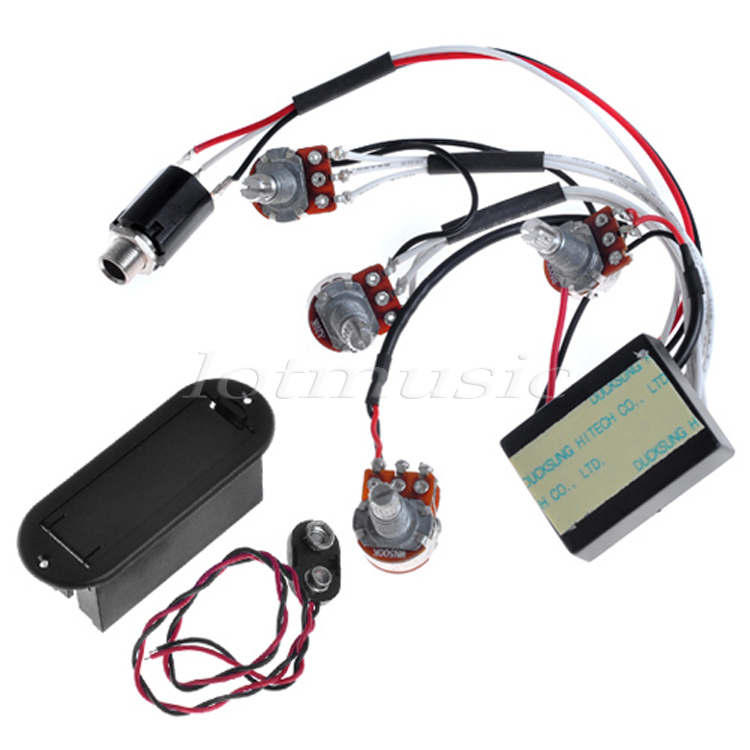 2 bandas Active EQ Preamp Circuit + 9 V Pickup Battery Holder funda cubierta hebilla para reemplazo de guitarra y bajo