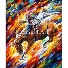 hand painted Modern Artwork of Landscape Palette knife thick Art Dangerous Games canvens Oil Painting Wall Decoration Fine Art