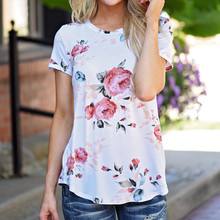 Women T Shirt Short Sleeve Flower Printed Short Sleeve Casual Round neck Europe And America Summer Tee tops 2017 New Design