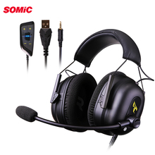 Somic G936N 게임용 헤드셋 게이머 PS4 헤드폰 7.1 가상 3.5mm 유선 PC 스테레오 이어폰, PS4 Xbox 노트북 용 마이크 포함