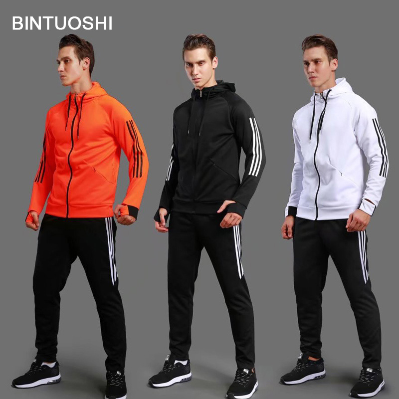 BINTUOSHI Soccer Jacket Fitness gym Training Suit Soccer Hooded Long Sleeve Sportswear Sets men and women lovers jacket chic long batwing sleeve hooded pure color women s jacket