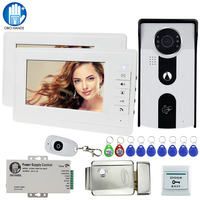 7'' Wired Video Intercom System Kit set RFID Night Vision Camera with 2 indoor Monitors + Metal Electric Lock key unlocking home